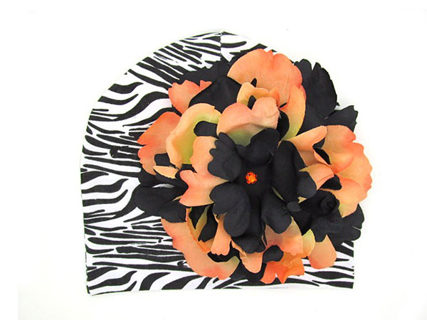 Black & Orange Zebra Peony Flower Hat