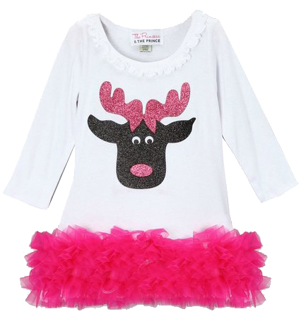 White Christmas Reindeer Hot Pink Ruffle Dress