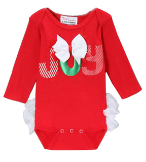 Red Christmas 'Joy' Ruffle Butt Onesie