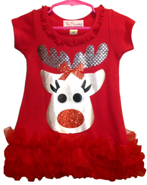 Red Reindeer Christmas Ruffle Dress