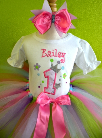 Pastel Princess Crown Birthday Tutu Outfit Set