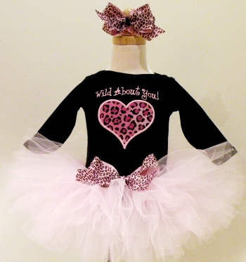 Wild About You Pink Cheetah Tutu Outfit-hot pink, black, set heart, animal print, leopard