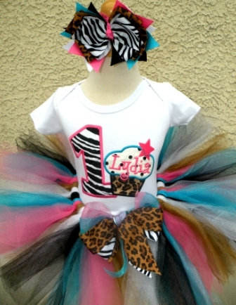 Cotton Candy Wild Cupcake Birthday Tutu Outfit Set-zebra, cheetah, leopard, hot pink, bubblegum, turquoise, blue, birthday, party, first, cupcakes