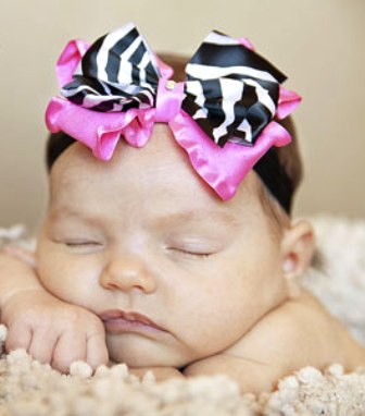 Zebra Princess Luxury Infant Satin Headband-hot pink and zebra, infant, baby girl, headband, hairbow, animal print