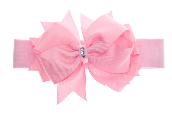 Touch of Fancy Baby Boutique Bling Hair Bow Headband-infant, baby, girl, boutique hairbow, newborn, spring, pink, bling