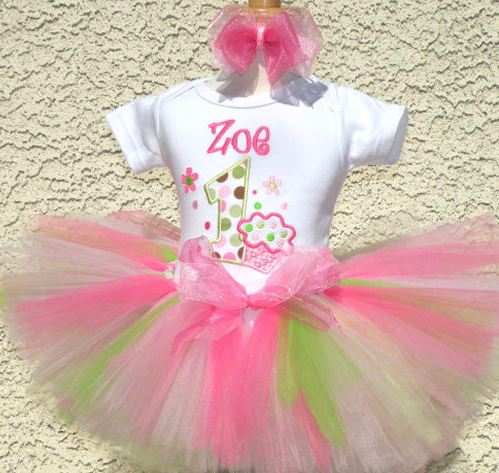 Prettiest Lil' Cupcake Birthday Tutu Set-Soft Pink & Lime, infant, baby girl, 1st birthday party, pink, green, white, outfit, tutu set