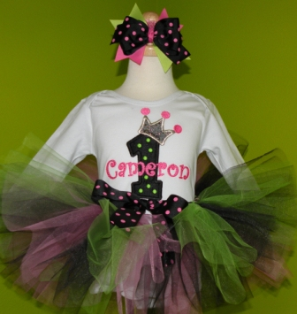 Punk Princess Birthday Tutu Outfit-black, hot pink, lime, tiara, princess, party