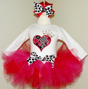 Queen of Hearts Baby Girl Tutu Set-red, pink, white, love, hearts, infant, baby girl, birthday, party, outfit, valentine