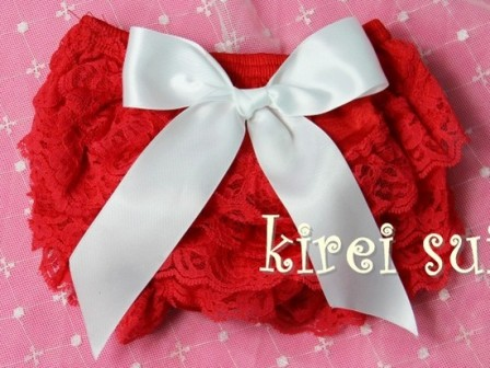 Red Lace Petti Bloomers with White Bow
