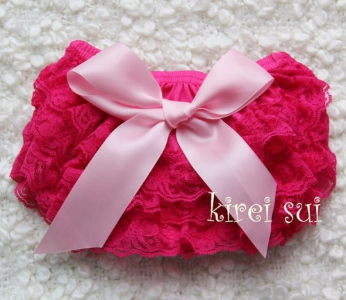 Baby Hot Pink Lace Bloomers with Light Pink Bow