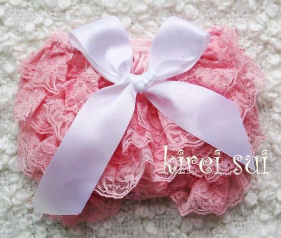 Light Pink Lace Bloomers with White Bow