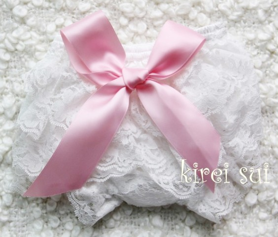 White Lace Bloomers with Light Pink Bow-diaper cover, bloomer, newborn