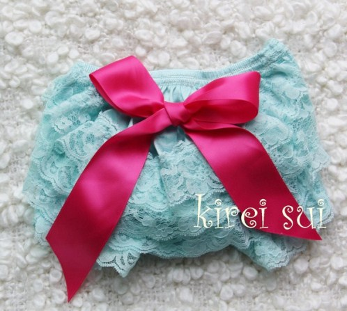 Aqua Blue Lace Bloomers with Hot Pink Bow-diaper cover, bloomer, bloomers, aqua, blue, hot pink, shocking, bow, infant, baby, girl, lace