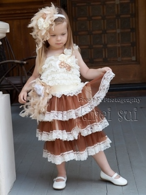 Cream and Brown Lace Tier Dress with matching Feather Sash and Headband-ivory, cream, off white, brown, tan, vintage, dress, tea, party, dressy, chiffon, fancy, flower girl, girl, toddler, rosette