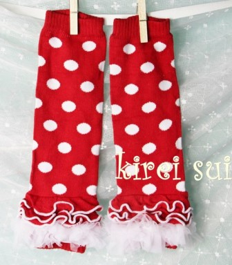 Red White Polka Dots Leg Warmers with White Ruffles-minnie mouse, red and white, christmas, holiday, valentine, july 4th, leggings