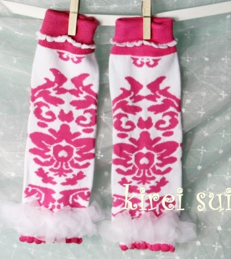 Hot Pink Damask Ruffle Leg Warmers-damask, leggings, leg warmers, hot pink and white