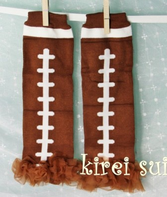 Brown Football Leg Warmers with Brown Ruffles