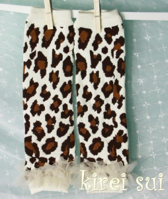 Brown Leopard Leg Warmers with Cream Ruffles-leapard, print, animal, cheetah, leggings, leg warmers