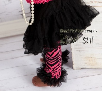 Hot Pink Zebra Leg Warmers with Black Ruffles-zebra print, hot pink and black, leggings