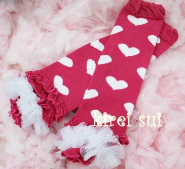 Valentines Day Hot Pink White Heart Ruffle Leg Warmers