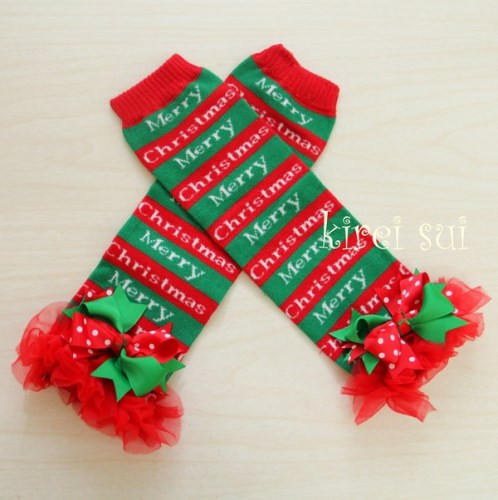 Classic Merry Christmas Red & Green Ruffled Leg Warmers with Bows-red, green, infant, baby, girl, boutique, leggings, leg warmers, christmas, holiday