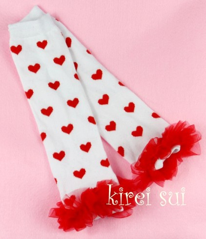 Valentine's Day Red Heart Leg Warmers with Ruffles-leggings, valentines, day, valentine, heart, love, red and white, red