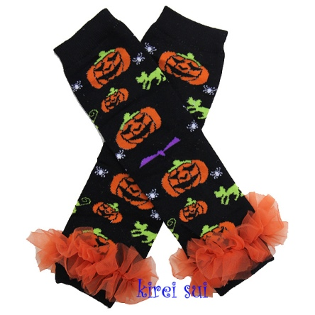 Halloween Black & Orange Pumpkin Ruffle Leg Warmers-spider, pumpkin, halloween, leggings, leg warmers, bat, cat, lime, green, purple, boutique