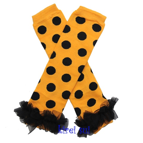 Halloween Orange Black Polka Dots Leg Warmers with Black Ruffles-halloween, orange, black, dot