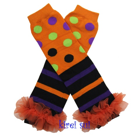 Halloween Polka Dots Black Purple Leg Warmers with Orange Ruffles-halloween, leggings, leg warmers, purple, orange, black
