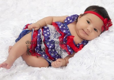 4th of July Stars & Striped Lace Petti Romper