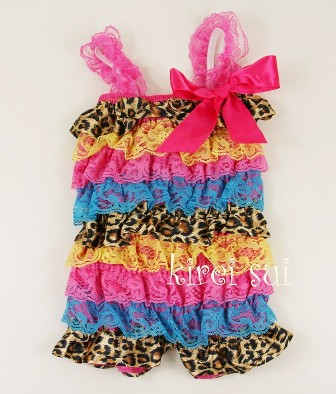 Satin Leopard Yellow Hot Pink Blue Lace Petti Romper-rainbow, colorful, petti romper, pettiromper, cheetah, leopard, animal, print