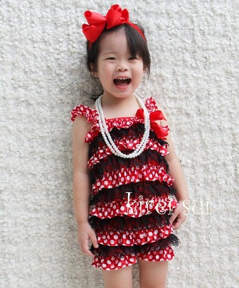 Minnie Mouse Red Polka Dots Black Lace Petti Romper