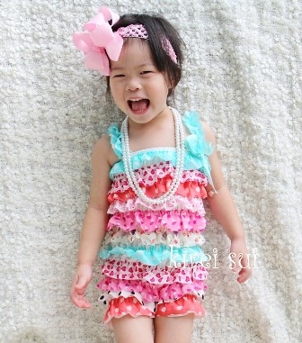 Blue Pink Red Polka Dots Hearts Sweet Satin Petti Romper-candy, pastel, colorful, rainbow, pettiromper
