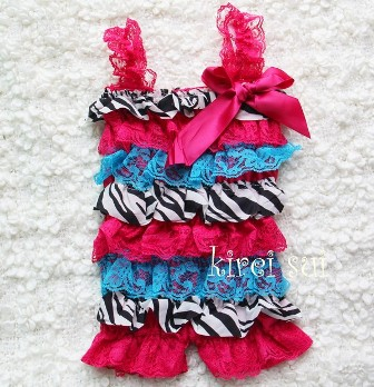 Hot Pink Blue Zebra Lace Petti Romper