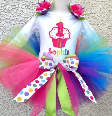 Rainbow Confetti Cupcake Girls Birthday Tutu Outfit-colorful, bright, summer, cupcake, birthday, party, bling, sparkle, dots