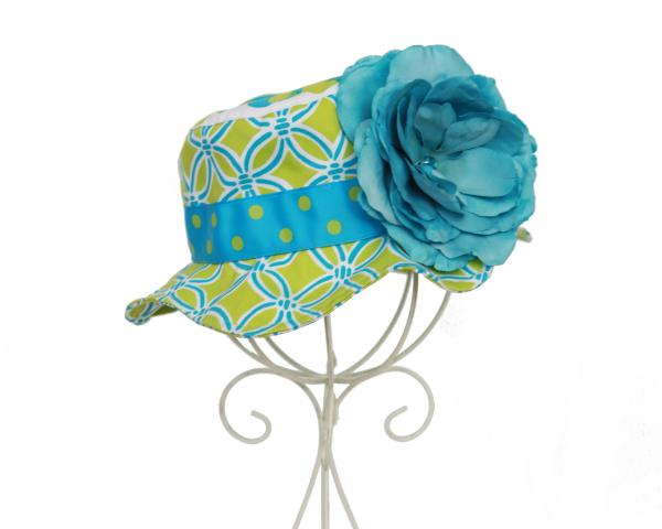 Teal & Lime Green Sun Hat