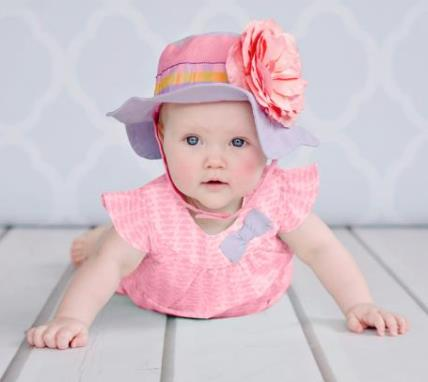 Candy Pink & Lavender Gingham Rose Sun Hat-light pink, flower hat, sunhat, sun hat, summer, infant, baby, girl, swimming, swim, beach, pool