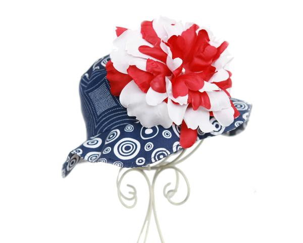 Navy Blue Red & White Peony Sun Hat-july 4th, patriotic, red white blue, summer, sun hat, pool, beach
