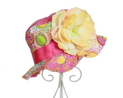 Orange Floral Yellow Rose Sun Hat