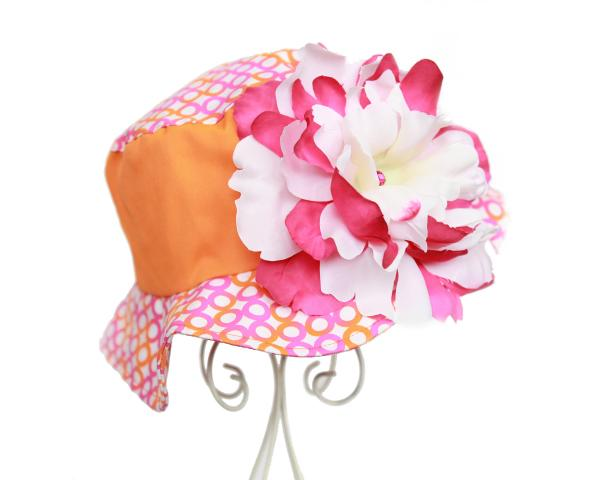 White Raspberry Peony Orange Sun Hat