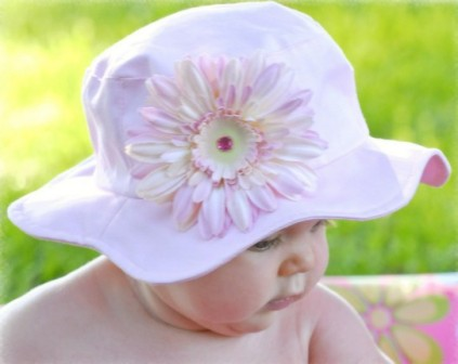 Pale Pink Daisy Sun Hat-light pink, summer, sun hat, pool, beach