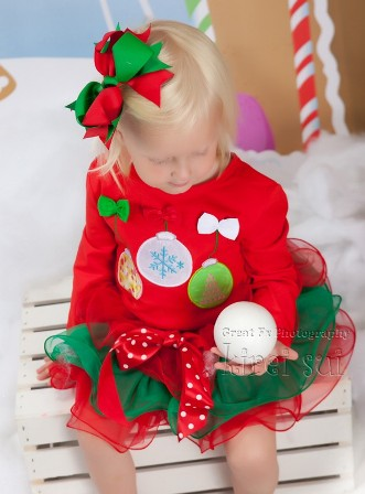Holiday Ornaments Red & Green Petal Pettiskirt Outfit Set-christmas, outfit, holiday, set, tutu, skirt, shirt