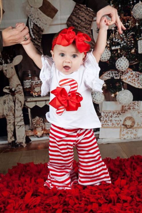 Candy Cane Stripes Ruffle Shirt & Pants Outfit Set-red and white, christmas outfit, cany cane, red stripes, holiday, christmas, baby girls christmas outfit