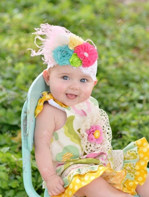 Summer Blast Bright Flower Cluster Feather Lace Headband-hot pink, lime, yellow, turquoise, colorful, summer, infant, baby, girl, boutique, flower, headband