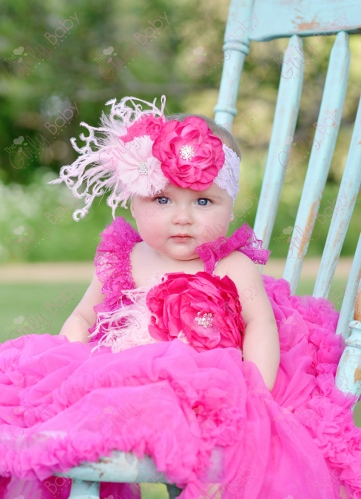 Shades of Pink Flower Petti Dress with Matching Headband Outfit Set-hot, light, pink, ruffle, couture, girly, girlie, curly, ostrich, feathers, ruffles, frilly, fancy, dressy, lace, chiffon, infant, baby, girl, pettidress, dress, petti, dress, spring, prop, photo, flowers, flower, birthday