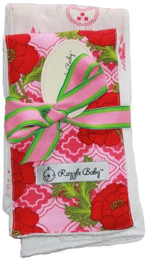 Secret Garden Baby Burp Cloth Set-red, hot, pink, green, floral, flowers, burp cloth, gift set, boutique