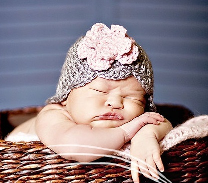 Newborn Silver Beanie Knit Flower Hat-crochet, infant, newborn, baby, girl, hat
