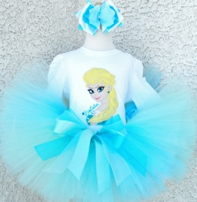 Snow Queen Frozen Ice Birthday Girl Tutu Outfit-personalized, Disney, movie, frozen, elsa, princess, queen, snow,