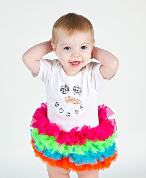 Colorful Winter Snowman Bling Tutu Onesie-christmas, holiday, infant, baby, girl, boutique, outfit, clothing, snowman, rhinestone, bling