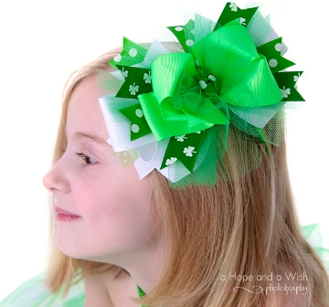 Luck of the Irish Couture Girls Hair Bow-st. patricks day, boutique hair bow, infant, baby girl, boutique